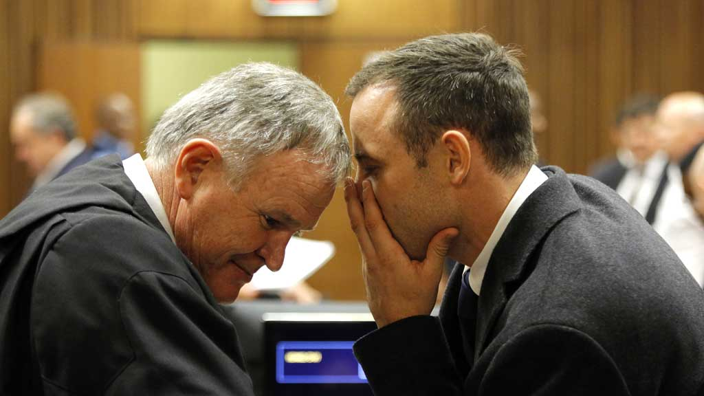 Barry Roux with defendant Oscar Pistorius, in court (R)
