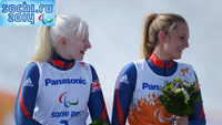 Visually-impaired skier Kelly Gallagher and guide Charlotte Evans