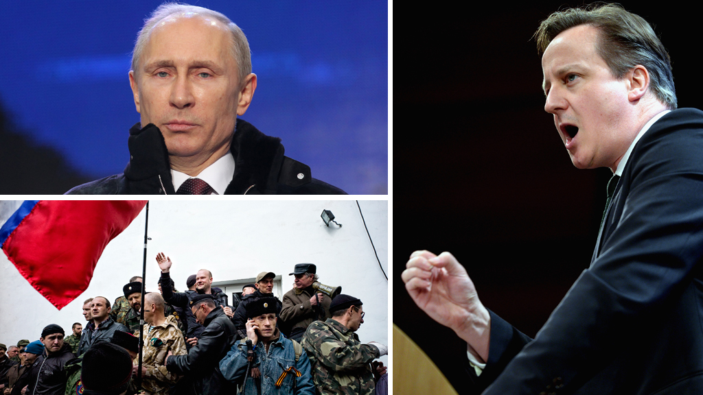 Vladimir Putin, Ukraine defence forces and David Cameron (picture: Getty)