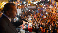 Tayyip Erdogan at a rally on Thursday (picture: Getty)