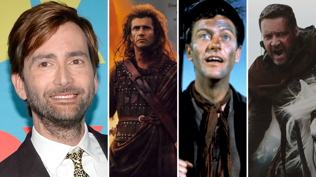David Tennant, Mel Gibson, Dick van Dyke and Russell Crowe (pictures: Getty)