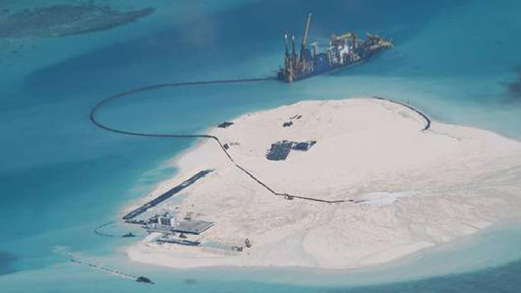 Alleged Chinese-built structures on reclaimed land in Spratly Islands (Picture: Philippines government)