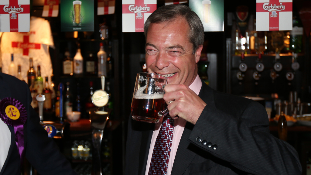 Nigel Farage likes being pictured with a pint in his hand, while his wife says he drinks too much. But the Ukip is not the only politician to enjoy a drink (Getty)