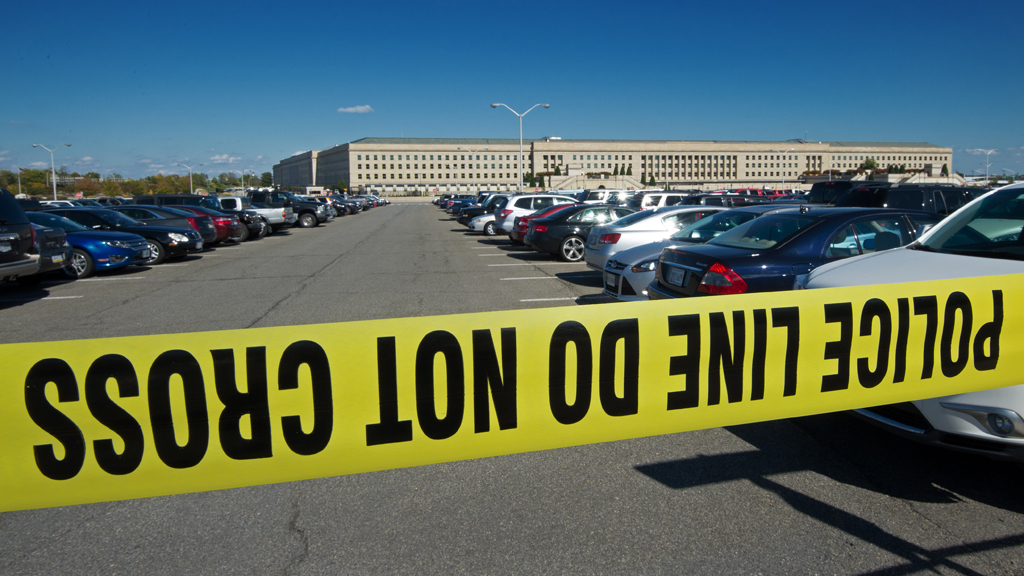 Police tape secured the Pentagon during an Ebola scare (Getty Images)
