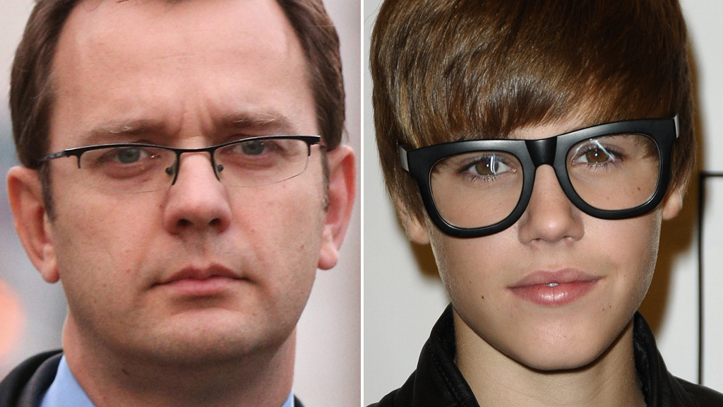 Andy Coulson and Justin Bieber (Getty)