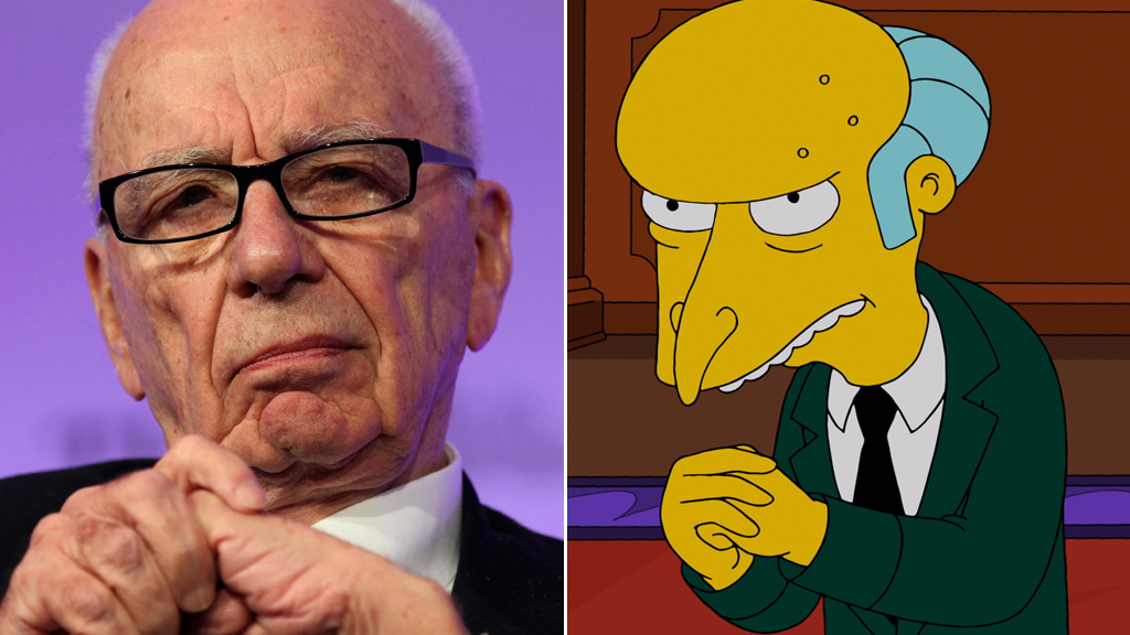 Rupert Murdoch and Mr Burns from The Simpsons