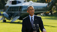 US President Barack Obama speaks on the White House lawn (Getty Images)