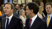 Ed Miliband with David Cameron and Nick Clegg (Reuters)