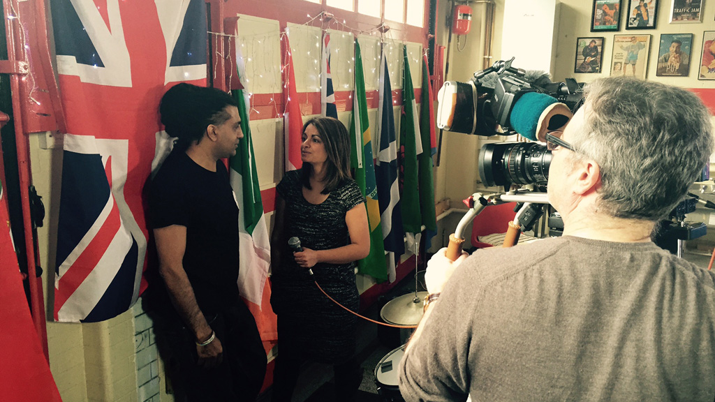 Apache Indian being interviewed by Darshna Soni (Channel 4 News)