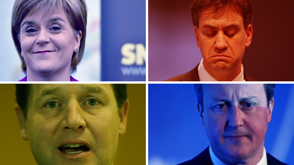 Clockwise from top left: Nicola Sturgeon, Ed Miliband, David Cameron and Nick Clegg