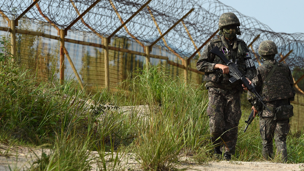 South Korean guards patrol border