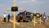 Graves of anonymous pro-Russian fighters in eastern Ukraine (Reuters)