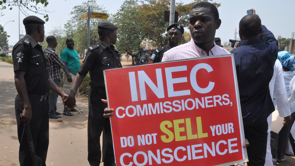 Protesters over INEC election decision