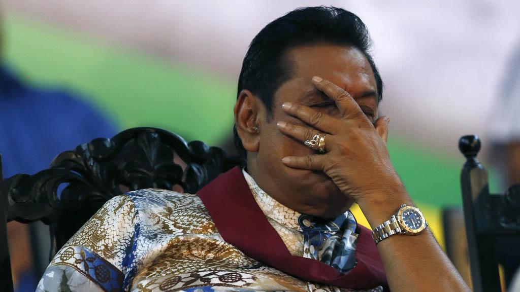 Sri Lanka's defeated president Mahinda Rajapaksa