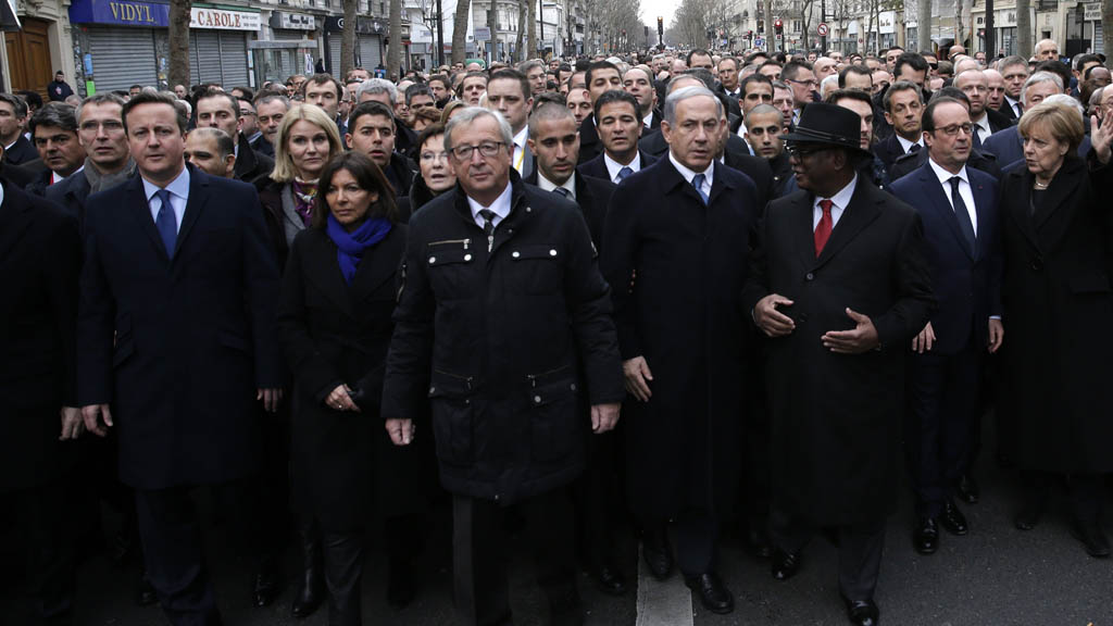 David Cameron joins world leaders at a march in Paris