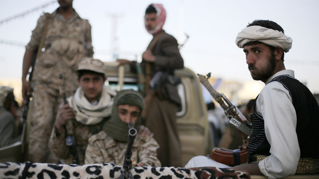 Houthi fighters on patrol in Sana'a, Yemen