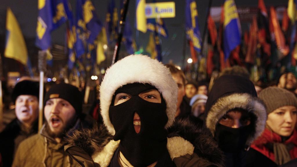 Svoboda members at the Maidan protests in Kiev (Reuters)