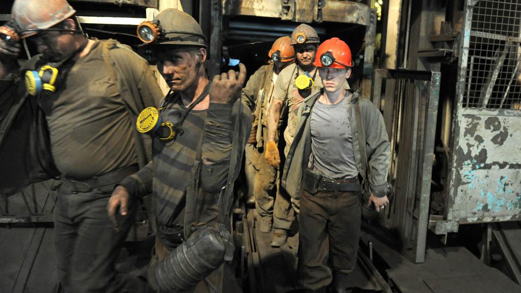 Miners at the Zasyadko mine in 2014