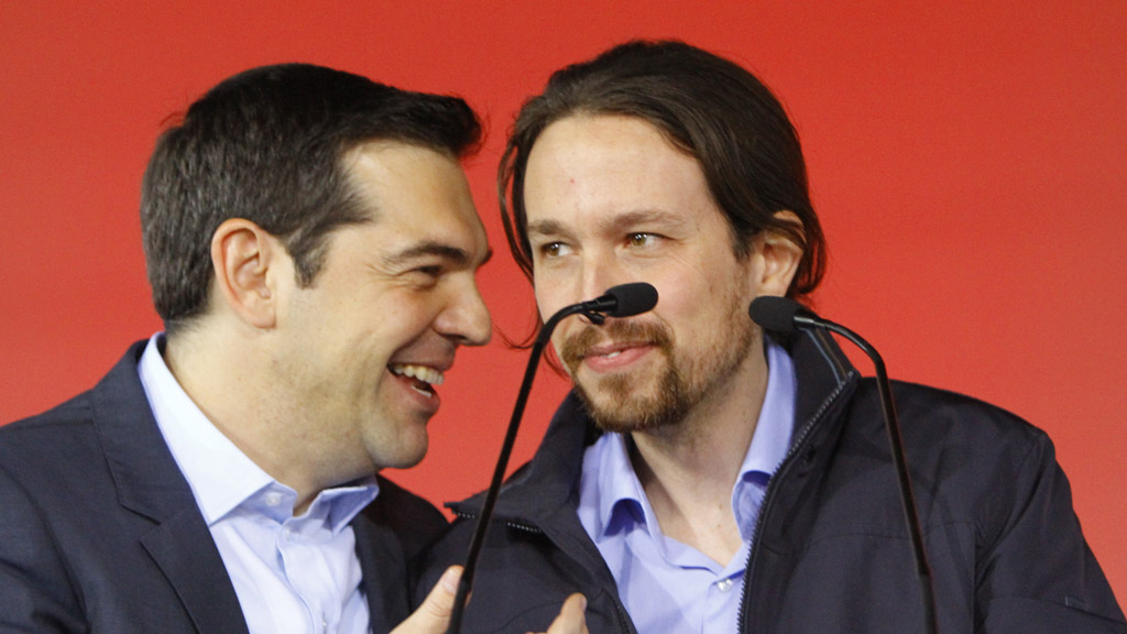 Greek Prime Minister Alexis Tsipras (l) with Podemos leader Pablo Iglesias (Getty)