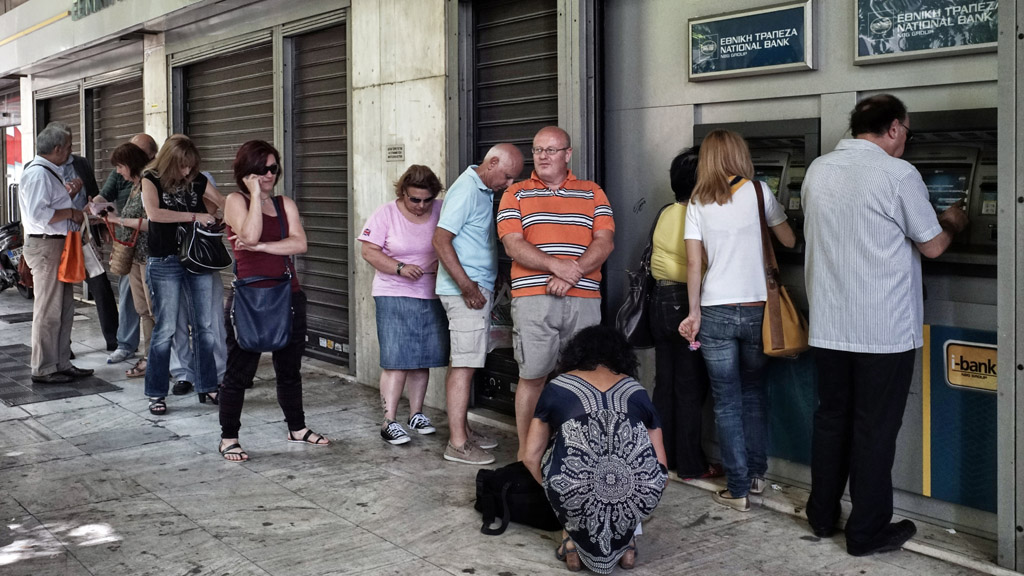 Greek bank queue