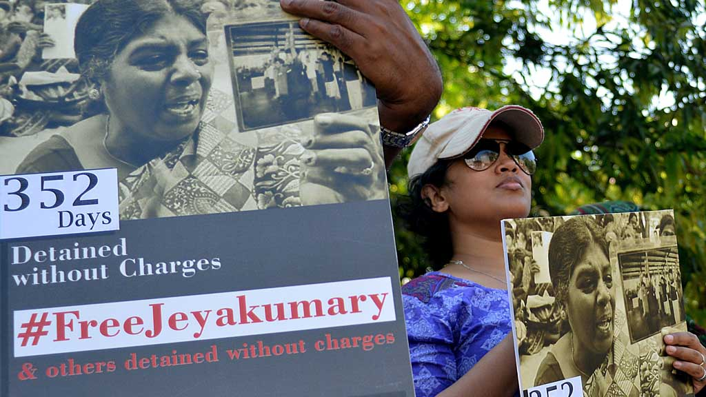 Protesters call for release of Balendran Jeyakumary (Getty)