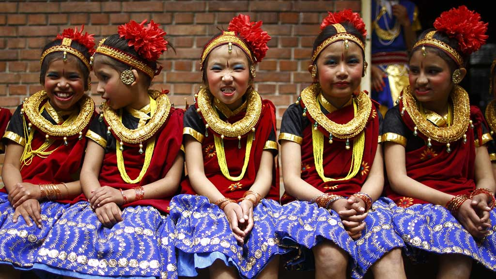 Nepali girls celebrate Women's Day (Reuters)