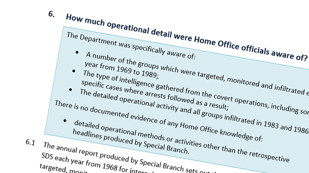 Report into links between Home Office and SDS