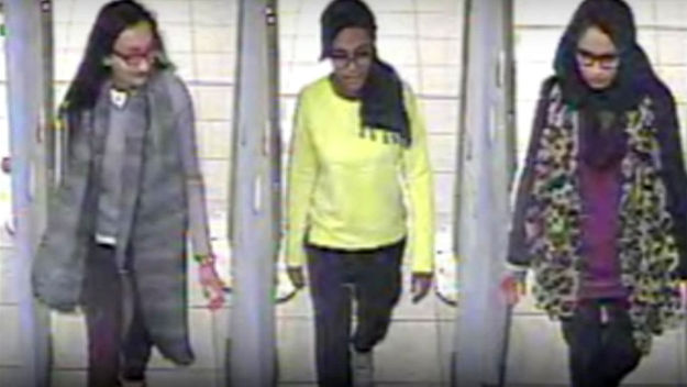 CCTV of three girls apparently crossing from Turkey to Syria
