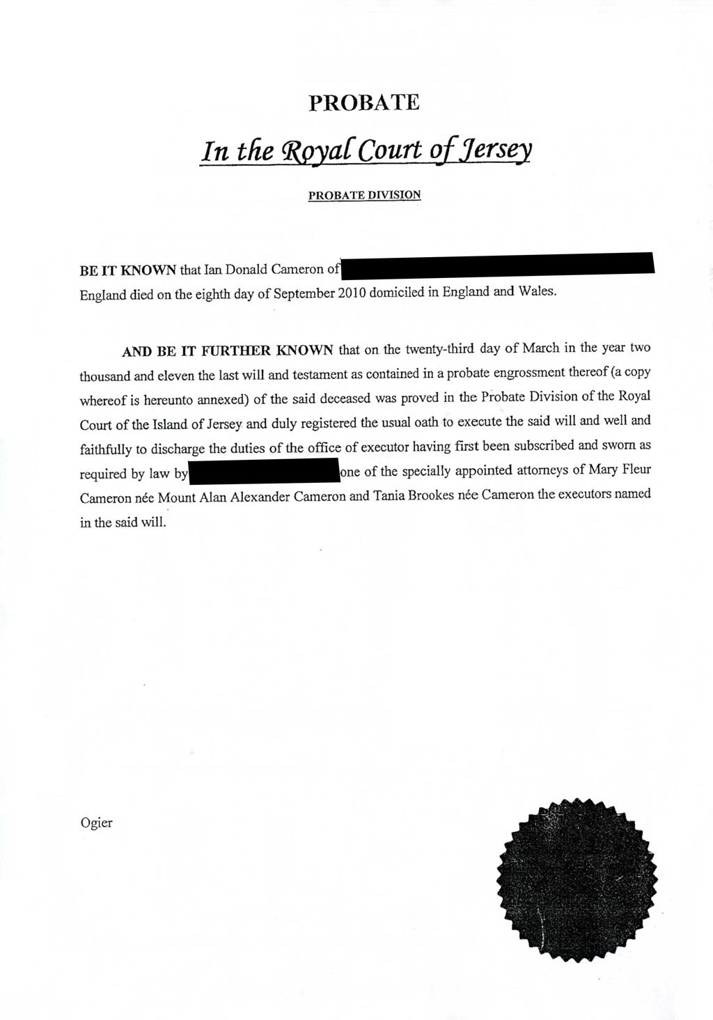 Probate document