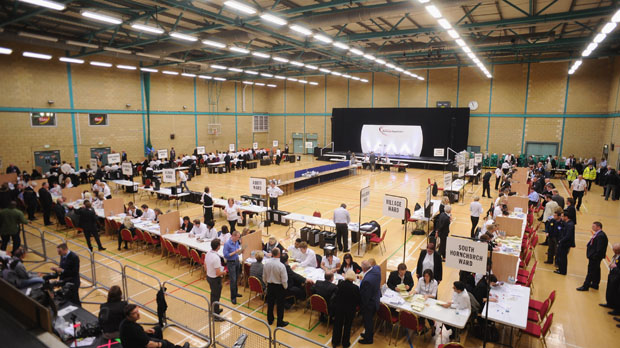 The counting centre at Barking at last year's General election (Getty)