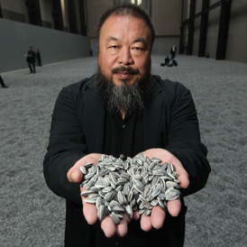 Ai Weiwei's sunflower seed installation at the Tate Modern.