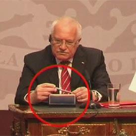 Czech President caught 'stealing' pen on state visit
