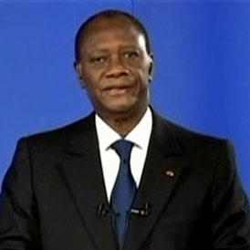Alassane Ouattara in a TV address after the capture of Laurent Gbagbo (Reuters)