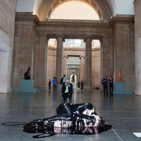 A protester from 'Liberate Tate' covered in oil (Immo Klink)