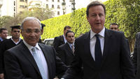 David Cameron shakes hands with Egyptian Prime Minister Ahmed Shafik (Reuters)
