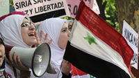 Syria: Demonstrators protest against the bloody crackdown by the regime against activists outside the Syrian embassy in Madrid on April 24 (Getty)