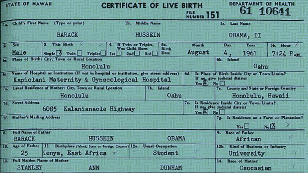 President Obama's official birth certificate.
