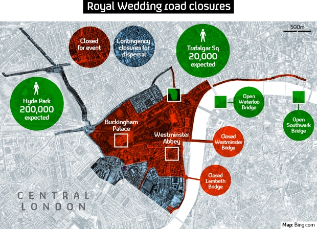 Royal Wedding security zone in central London
