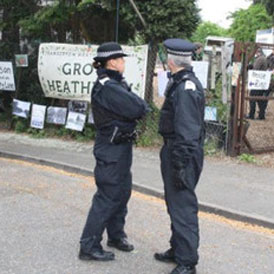 Photographs of a raid on Grow Heathrow, a market gardening project based on squatted land near what would have been the west London airport's third runway, were posted on the Indymedia website