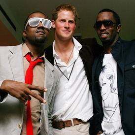 Royal Wedding: Prince Harry with Kanye West and P Diddy. (Reuters)