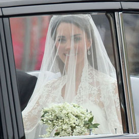 Royal Wedding: Kate Middleton arrives in a Sarah Burton dress.