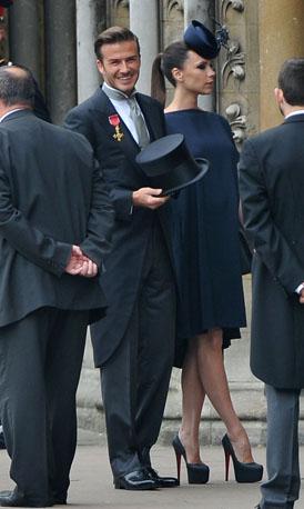 Royal Wedding: Beckhams arrive.