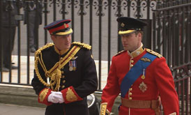 Royal Wedding: William and Harry arrive.