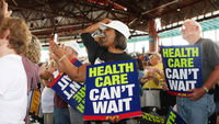 Healthcare protestors. Obama won a landmark battle to extend health insurance to millions of Americans in March 2010. (Getty)