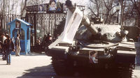 A tank, with a portrait of Ayatollah Khomein, outside one of the Shahs former palaces in 1979. (Getty)