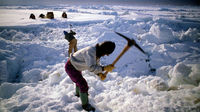 Men use pickaxes to prepare a trail along the irregular ice layer over the Arctic ocean in Alaska. (Getty)