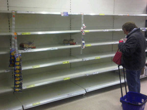 Empty supermarket shelves - West Malling
