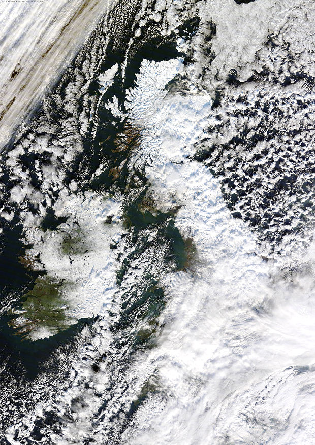 Amazing satellite photo of the country beneath a blanket of snow, as taken this morning by the NASA satellite 'Terra'. Courtesy of NEODAAS/University of Dundee.