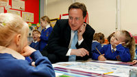 Prime Minister David Cameron talks to school children (Reuters)