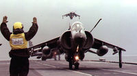 A Sea Harrier jet at the British aircraft carrier Ark Royal in the Adriatic sea on February 17